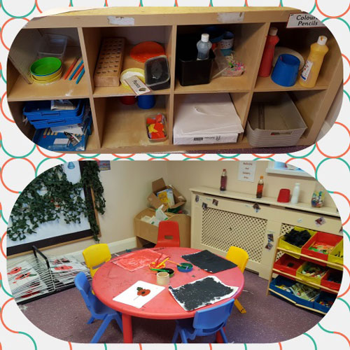 Creative Area in the Pre-School Room at Little Ducklings Nursery, Wombwell, Barnsley